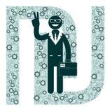 Shekel del segno e dell'uomo d'affari, illustrazione di vettore Fotografia Stock