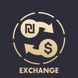 Shekel to dollar exchange vector icon. Eps 10 file, easy to edit Royalty Free Stock Photography