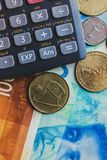 Shekels money top wiew concept. Calculator tool. Shekels money top wiew concept. Wallpaper Stock Image