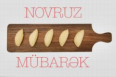 Shekerbura national Azerbaijani cookie as traditional Novruz holiday attribute. On white stock photography