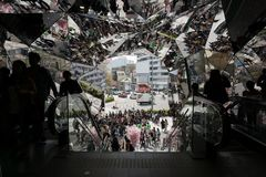 The SHEL'TTER TOKYO's entrance. Very famous entrance known by its multiple mirrors. Here is near from Takeshita dori in Tokyo, japan royalty free stock photography