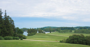 Shelburne Farm fields along Lake Champlain Royalty Free Stock Image