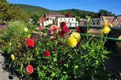 Shelburne spadki, MA: Most kwiaty zdjęcie royalty free