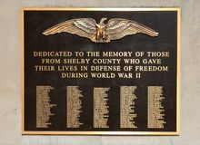 Shelby County World War Two Veterans Memorial Plaque Royalty Free Stock Images
