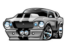Classic American Muscle Car Cartoon Illustration stock illustration
