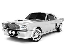 Shelby Mustang GT500. Realistic render three-dimensional model of the silvery  Shelby Mustang GT500 of 1967 Royalty Free Stock Photography