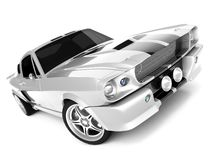 Shelby Mustang GT500. Realistic render three-dimensional model of the silvery  Shelby Mustang GT500 of 1967 Royalty Free Stock Image