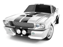 Shelby Mustang GT500. Realistic render three-dimensional model of the silvery  Shelby Mustang GT500 of 1967 Stock Images