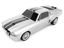 Shelby Mustang GT500. Realistic render three-dimensional model of the silvery  Shelby Mustang GT500 of 1967 Stock Photo
