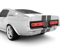 Shelby Mustang GT500. Realistic render three-dimensional model of the silvery  Shelby Mustang GT500 of 1967 Stock Photos