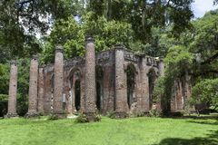 Shelden Church Ruins, Yamassee SC. Formally known as Prince William Parish Church built in 1757. One of the first church`s built in Temple form in the United stock images