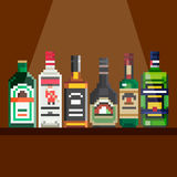 Shelf with alcohol. Pixel art royalty free illustration