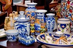 Shelf of Antique Vases Stock Photography