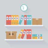 Shelf Archive Storage Background, Flat Trendy Vector Illustration Royalty Free Stock Image