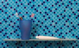Shelf with bath accessories Royalty Free Stock Image