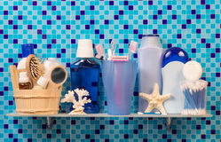 Shelf with bath accessories Stock Images