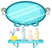 Shelf in a bathroom with mirror vector illustration
