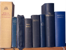 Shelf of Bibles Royalty Free Stock Photos