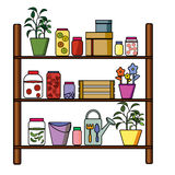 Shelf for billets and storage. With various items Stock Photo
