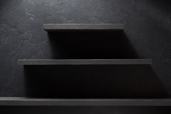 Shelf and black wall wood Royalty Free Stock Photography