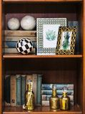 Shelf with books Stock Images