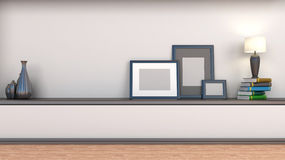 Shelf with books and lamp royalty free illustration