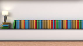 Shelf with books and lamp Royalty Free Stock Images