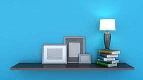 Shelf with books and lamp Royalty Free Stock Image