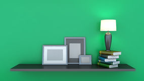 Shelf with books and lamp Stock Photography