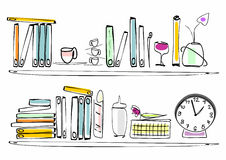 Shelf with books - order and disorder. Books, clock, cups, vases on a shelf. Order is here relative Stock Image