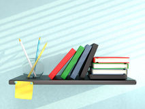 Shelf with books, pencils, and sticky note Royalty Free Stock Photos