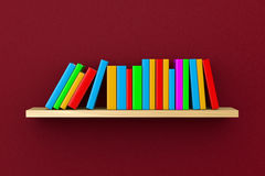 Shelf with Books on Violet Background. Wooden Shelf with Colorful Books on Violet Wall Background 3D Illustration Stock Photos
