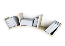 Shelf with books  on white background. 3d. Shelf with books  on white background. 3d illustration Royalty Free Stock Image