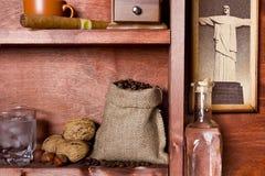 Shelf with Brazilian coffee Stock Images