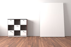 Shelf and cabinet Furniture with white blank Royalty Free Stock Images