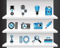 Shelf with Car Parts. Vector Illustration Stock Photos