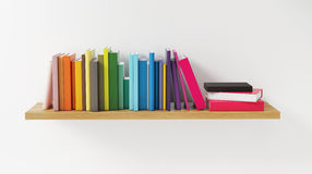 Shelf with Color Book on the White Wall, Concept, Render Royalty Free Stock Photos