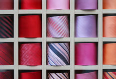 Shelf with color ties. Shelf with diverse colored ties Stock Images