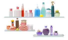 Shelf with cosmetics in a bathroom Stock Photo