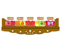 Shelf cupboard filled with jam jars Royalty Free Stock Photos