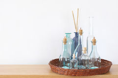 Shelf with decorative bottles Royalty Free Stock Image