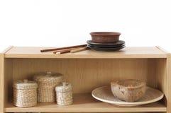 Shelf with decorative elements Stock Image