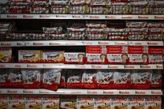 Shelf with different Kinder products in the supermarket in Barcelona, Catalonia, Spain 30 April, 2019 stock photography