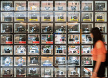 Shelf of digital camera as of the year 2013 Royalty Free Stock Photos