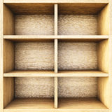 Shelf. Empty wooden box. 3d image Royalty Free Stock Images