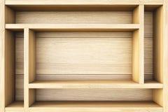 Shelf. Empty wooden box. 3d image Stock Photos
