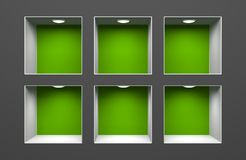 Shelf for exhibit. Conceptual image. Separated on white Royalty Free Stock Images