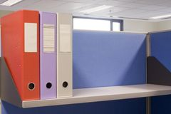 Shelf with files. Shelf in an office cubicle with some files Royalty Free Stock Photography