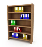 Shelf With Files Folders. Isolated on white - 3d illustration Royalty Free Stock Photo