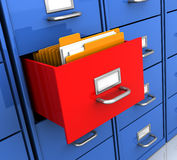 Shelf with folders. 3d illustration of office shelf with document folders inside Royalty Free Stock Images